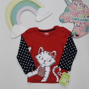 Boutique Toddler girl Hearts Cat top 2T & 3T